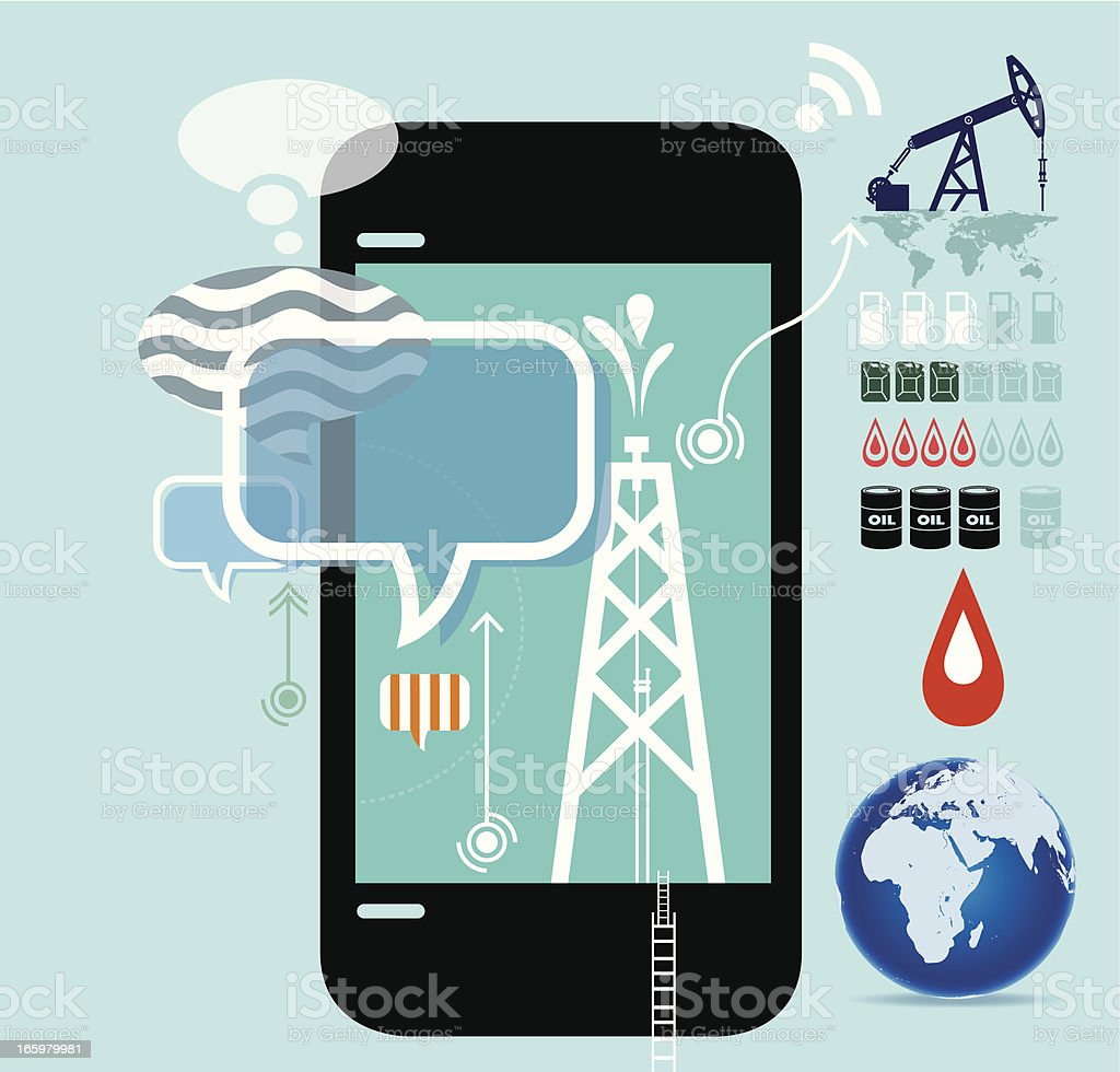 Oil production drilling, mining, and refining royalty-free stock vector art