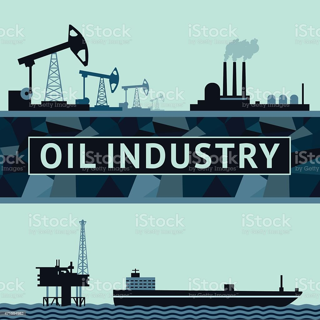 Oil Production Infographic vector art illustration
