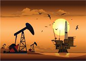 Oil Rig and Pump Jack.