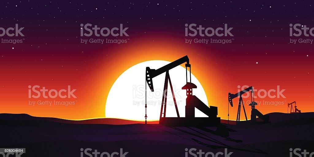 Oil production vector art illustration