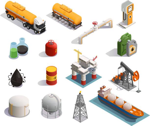 Ölprofuktion Erdölindustrie isometrische Symbole – Vektorgrafik