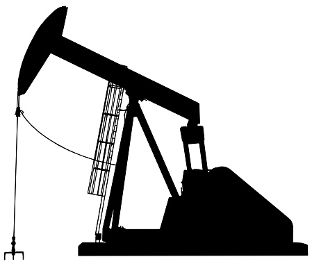 vector illustration of an oil pump jack silhouette in black on white background