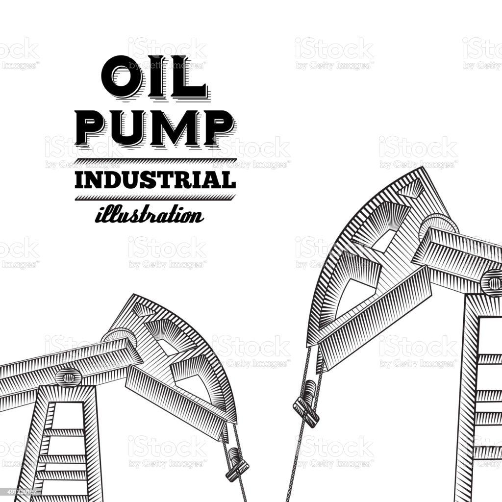 Oil pump jack. royalty-free stock vector art