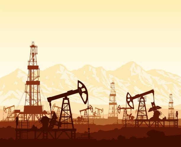illustrazioni stock, clip art, cartoni animati e icone di tendenza di oil pumps and drilling rigs over mountains - benzina