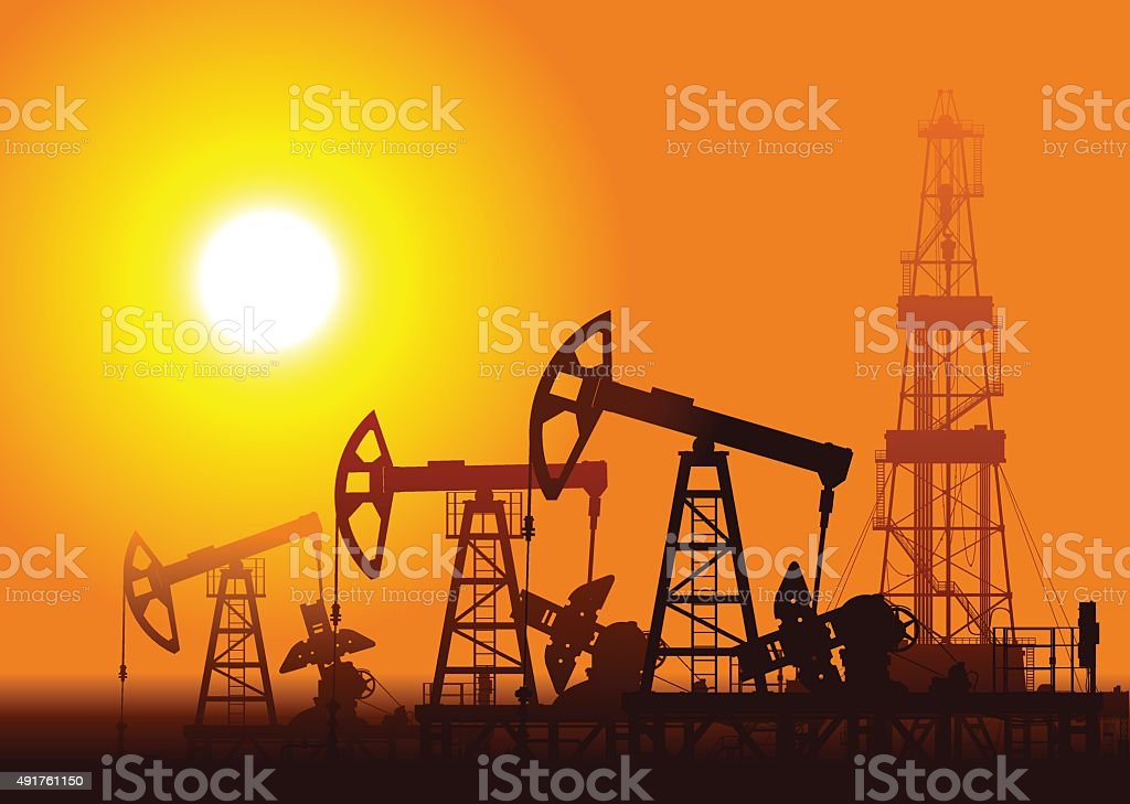 Oil pumps and rig over sunset. vector art illustration