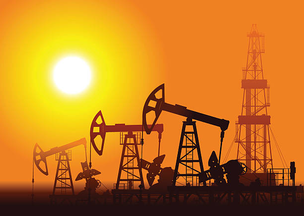 Oil pumps and rig over sunset. Oil pumps and rig over sunset. Detail vector illustration.  oil and gas stock illustrations