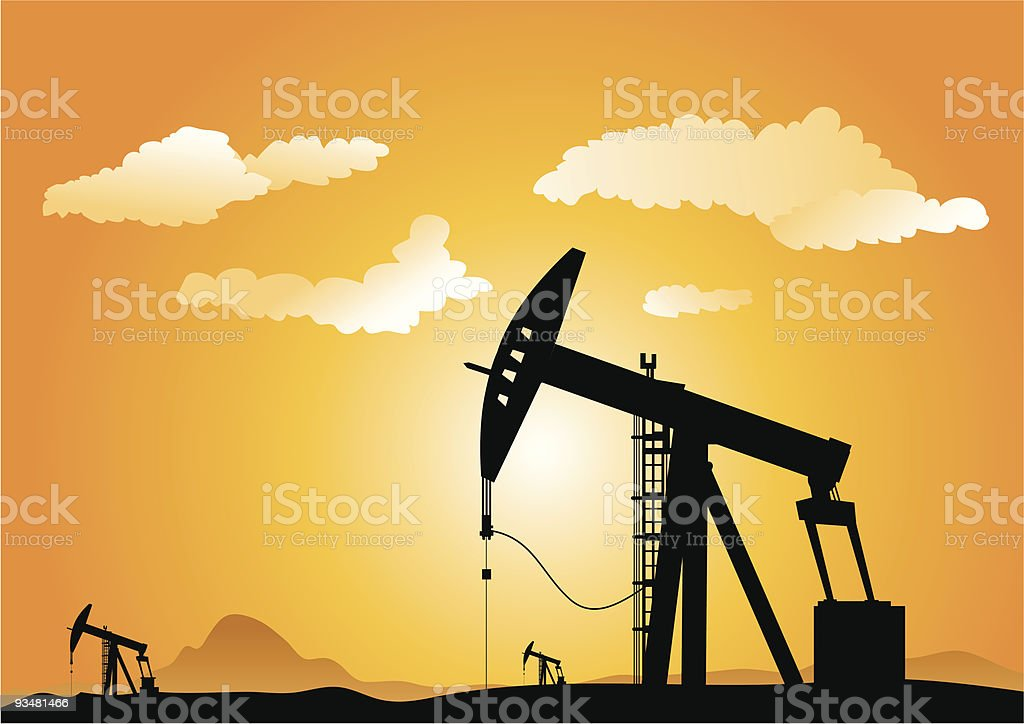 Oil pumps royalty-free stock vector art