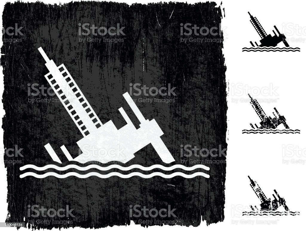 oil rack disaster on royalty free vector Background royalty-free stock vector art