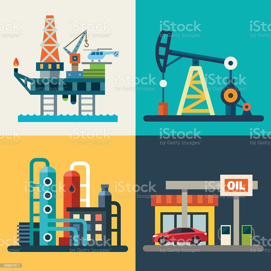 Oil recovery vector art illustration