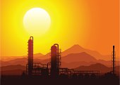 Oil refinery or chemical plant at sunset in the mountains. Detailed vector illustration.