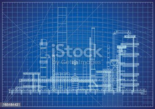istock Oil Refinery Blueprint 165484431