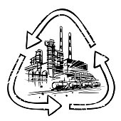 Oil refinery, Chemical-Petrochemical Plant in the symbol of processing, recycling. The idea of taking care of the environment in the oil and gas industry