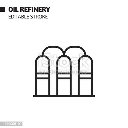 istock Oil Refinery Line Icon, Outline Vector Symbol Illustration. Pixel Perfect, Editable Stroke. 1190008192