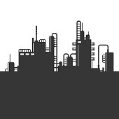 Oil Refinery Plant Silhouette on White Background. Vector Illustration