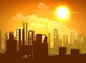 Oil refinery poster with towers pipes and tanks at sunrise or sunset vector illustration