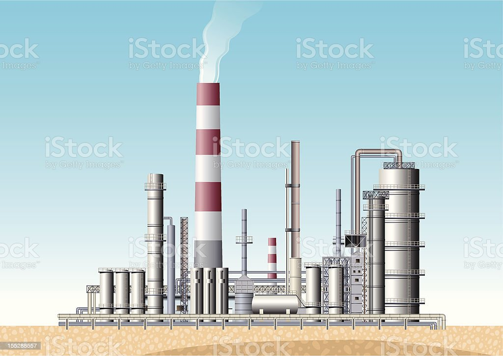Oil Refinery royalty-free oil refinery stock vector art & more images of air pollution