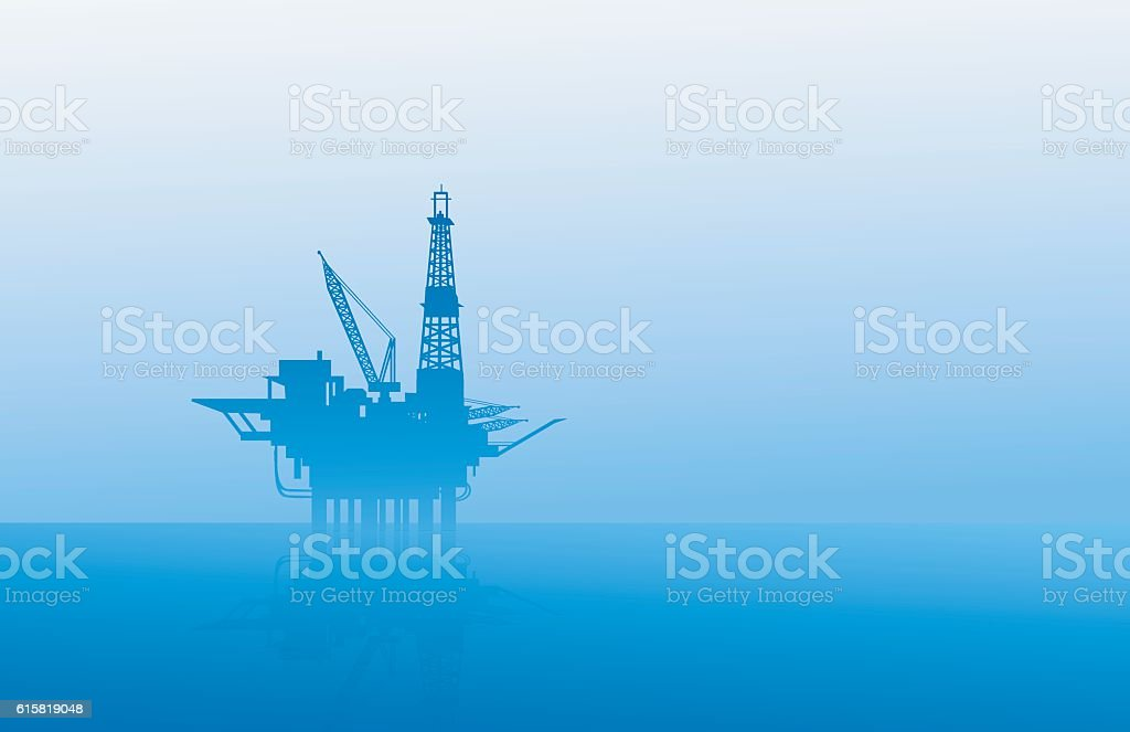 Oil Rig at Morning vector art illustration