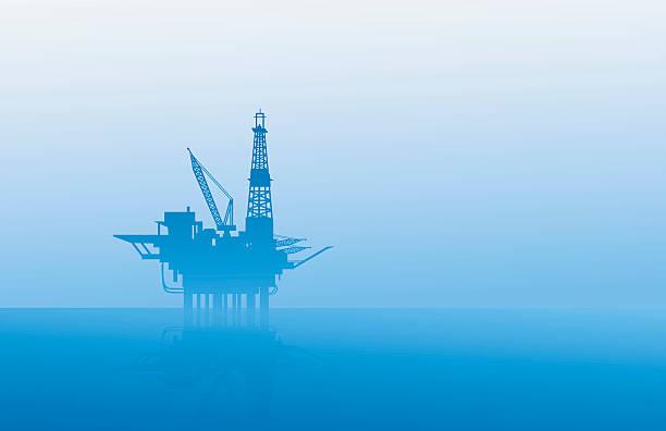 oil rig at morning - kule stock illustrations