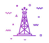 Oil rig outline style icon design with decorations and gradient color. Line vector icon illustration for modern infographics, mobile designs and web banners.