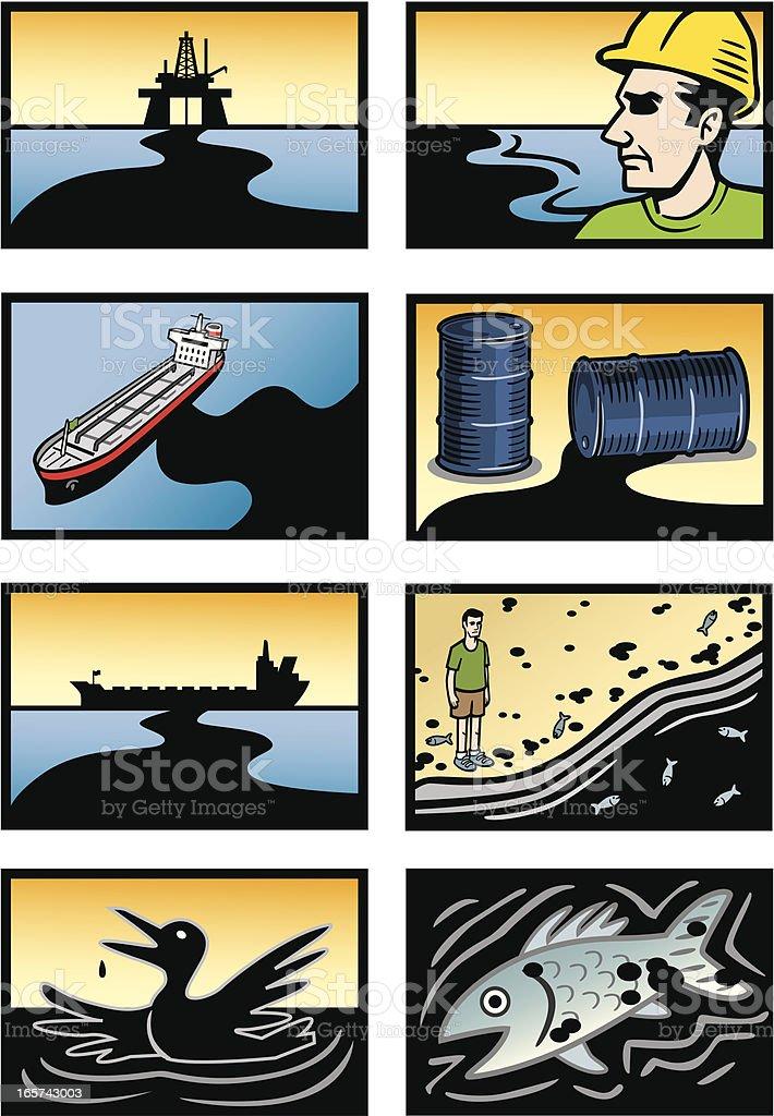 Oil Spill Disaster Icons vector art illustration