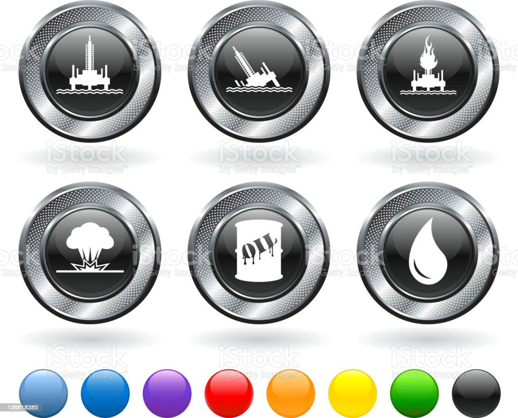 oil spill disaster royalty free vector icon set vector art illustration