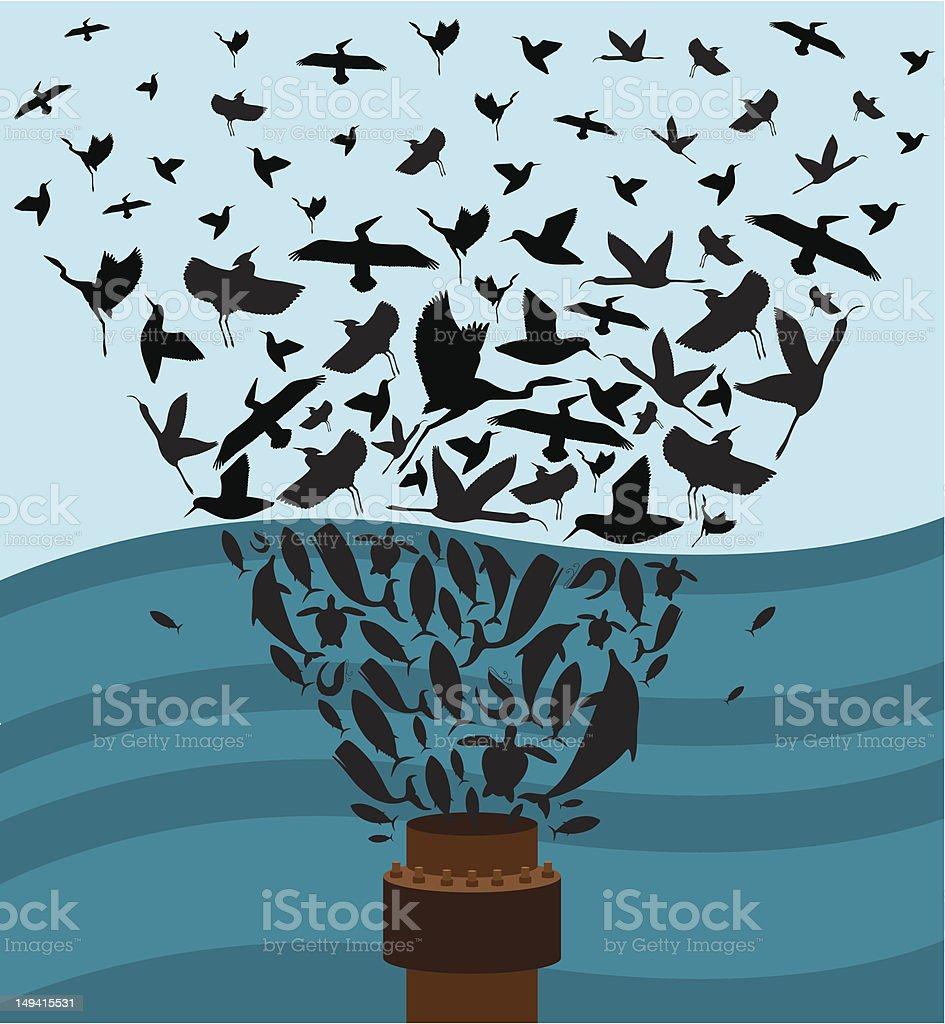 Oil Spill vector art illustration