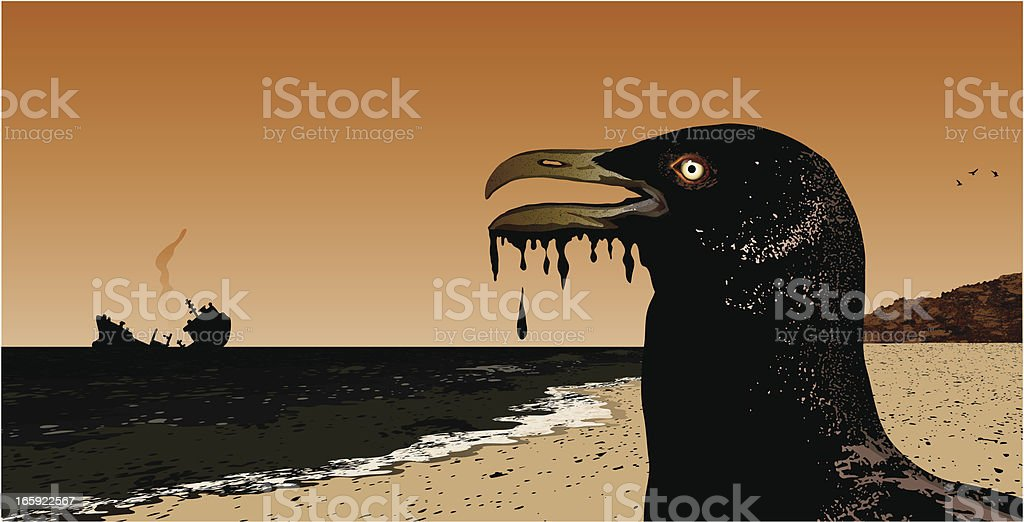 oil spill with seagull vector art illustration