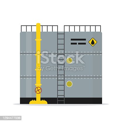 istock Oil storage tank. Cartoon steel container with pipe and ladder. Metal petroleum reservoir isolated on white background. 1294477036