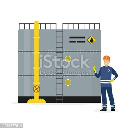 istock Oil storage tank, happy caucasian oilman or engineer. Cartoon steel container with pipe and ladder. Metal petroleum reservoir 1295077814