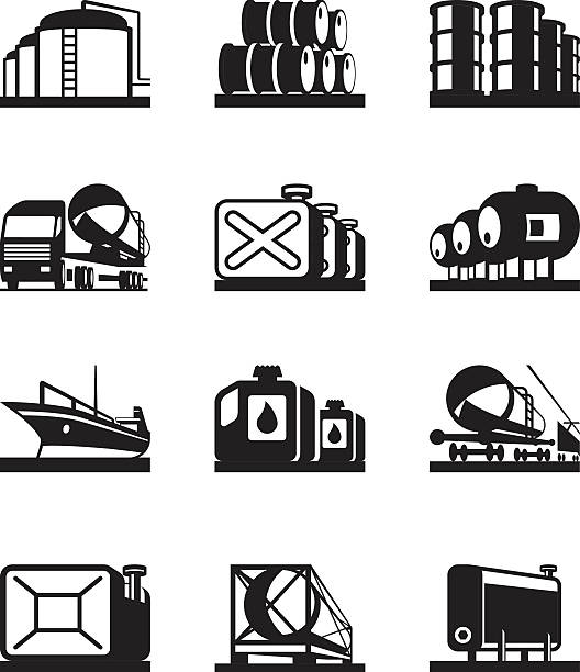 Grafika wektorowa, ikony, ilustracje Zbiornik Magazynowy
