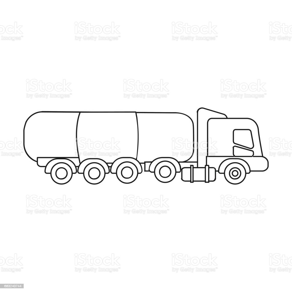Oil Tank Trucker Icon In Outline Style Isolated On White Background
