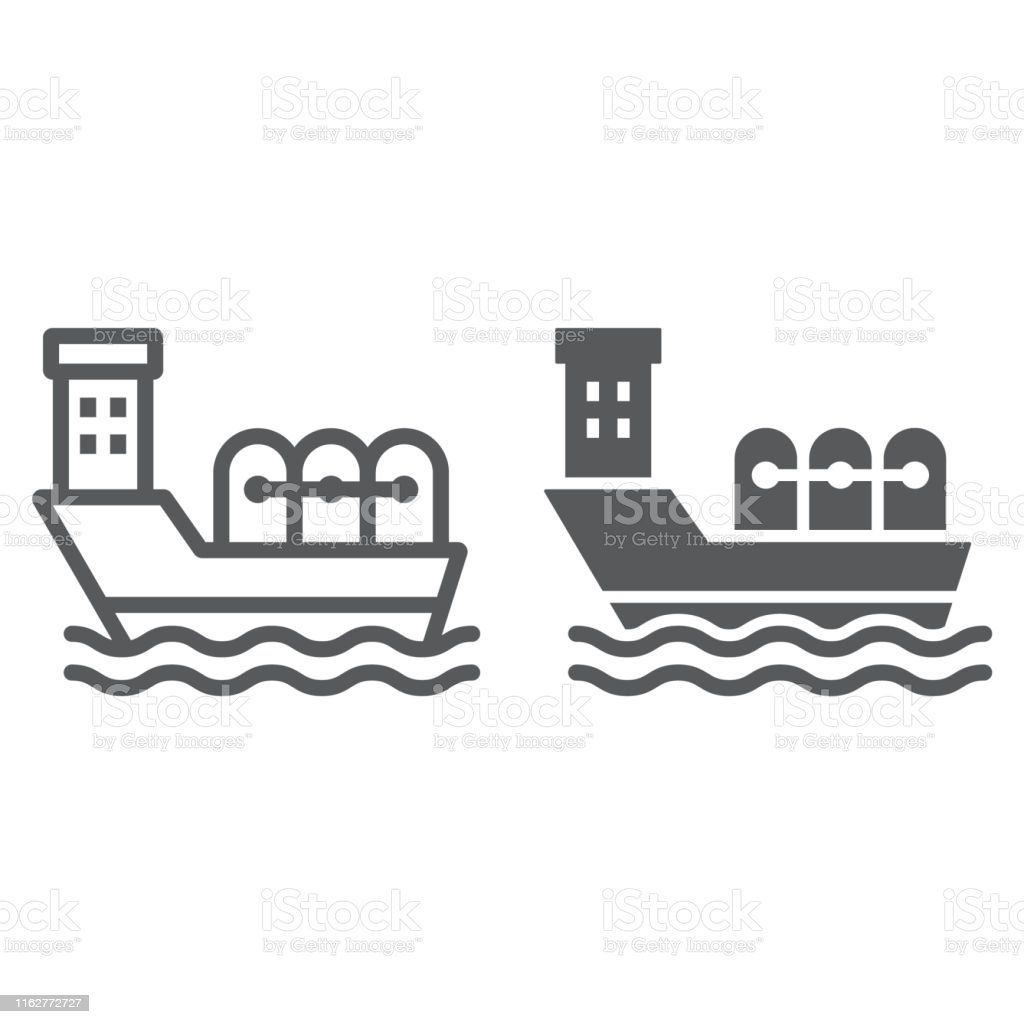 Oil tanker line and glyph icon, industrial and boat, oil ship sign,...