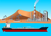 istock Oil Tanker, Pump Jack, Drilling Rig and Refinery. Oil and Gas Production Facilities 1039255846