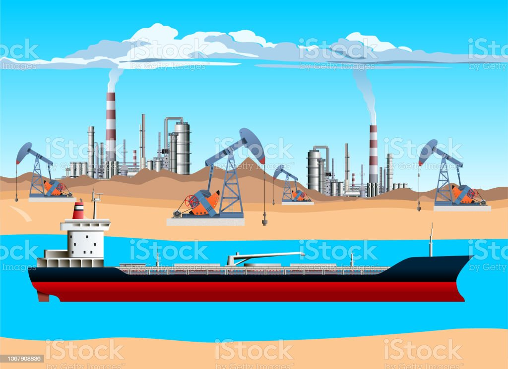 Oil Tanker Pump Jack Drilling Rig And Refinery Oil And Gas ...