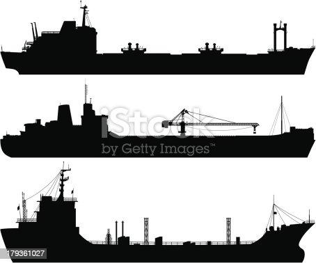 Detailed oil tanker silhouettes.