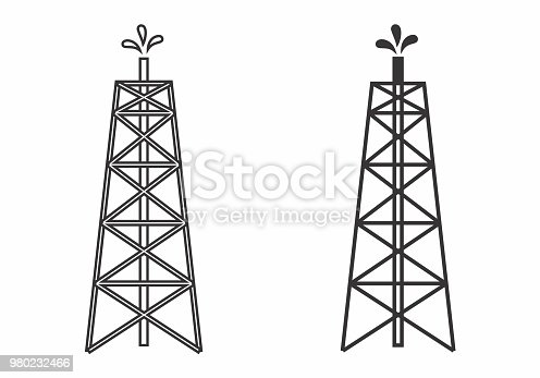 Illustration of oil towers on white background