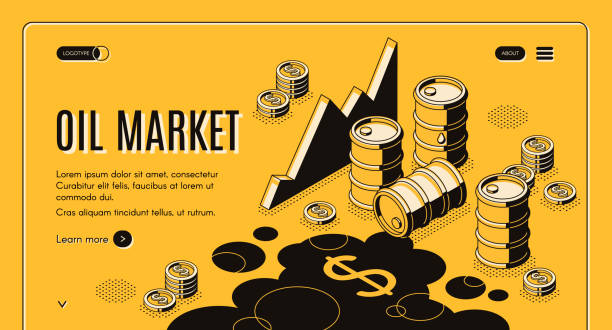 Oil trade market isometric vector webpage template vector art illustration