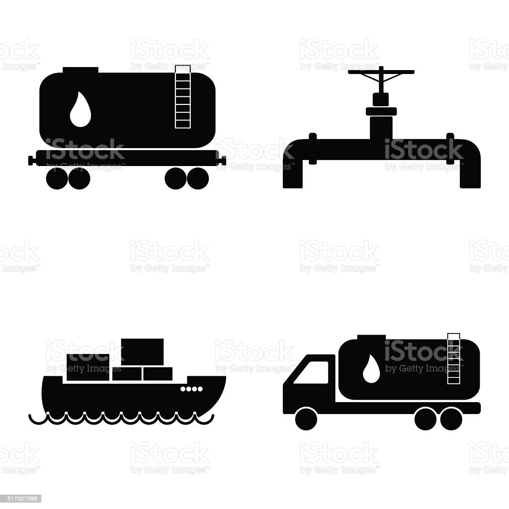 Öl Transport Symbole Satz Erdöl Und Gasindustrie Vektorillustration ...