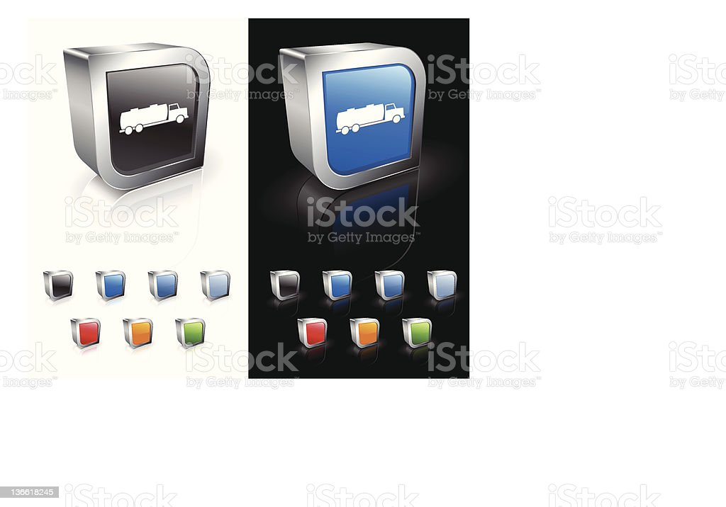 3D oil truck computer icon set royalty-free stock vector art