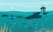 Oil waste pollution. Series of oil pollution in the ocean cartoon vector.