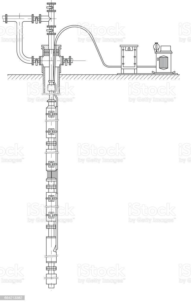 Oil well plan vector art illustration