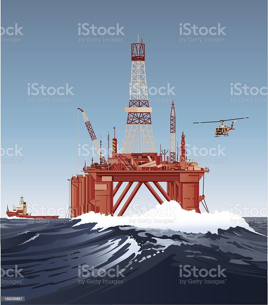 Oil-drilling platform royalty-free stock vector art