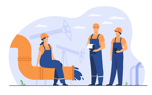Oilmen and engineers on production line