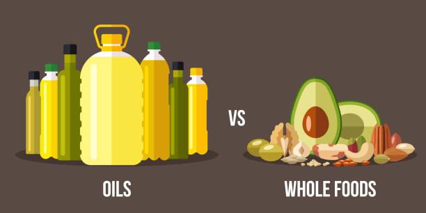 bildbanksillustrationer, clip art samt tecknat material och ikoner med oljor vs hela livsmedel - omega 3
