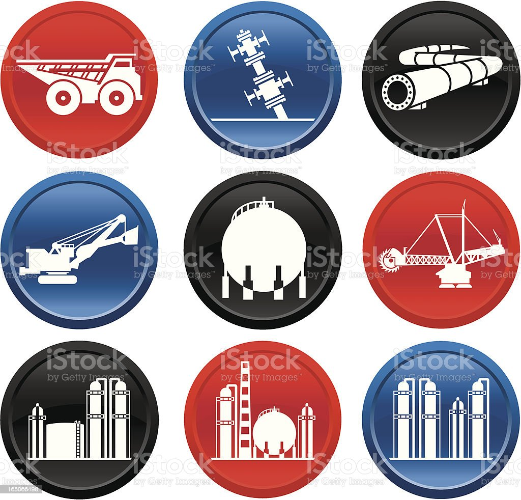 Oilsands Icons on Buttons royalty-free stock vector art