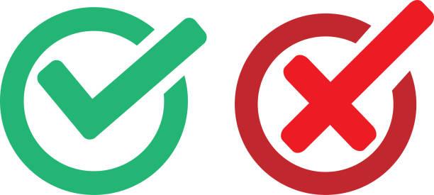 ok check und verboten oder kein zeichen - flat icons stock-grafiken, -clipart, -cartoons und -symbole
