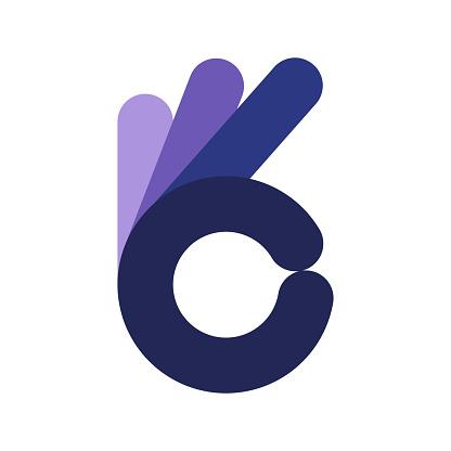 Ok gesture icon. Simple Ok blue symbol.