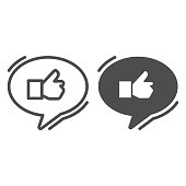 Ok gesture in chat bubble line and solid icon, hand gestures concept, Thumbs up sign on white background, Like hand in speech bubble icon in outline style for mobile and web design. Vector graphics