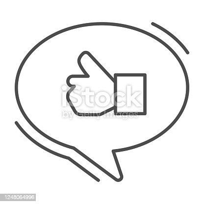 istock Ok gesture in chat bubble thin line icon, hand gestures concept, Thumbs up sign on white background, Like hand in speech bubble icon in outline style for mobile and web design. Vector graphics. 1248064996
