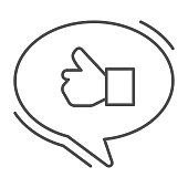 Ok gesture in chat bubble thin line icon, hand gestures concept, Thumbs up sign on white background, Like hand in speech bubble icon in outline style for mobile and web design. Vector graphics